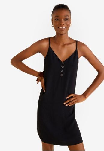 Mango 黑色 細肩帶短洋裝 CB823AAC8C2311GS_1