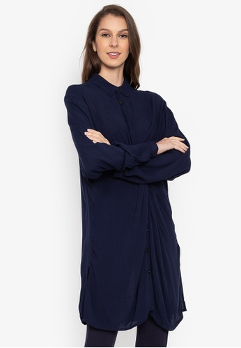 MARKS & SPENCER navy Twisted Front Long Sleeve Shirt BB34AAA603D43EGS_1