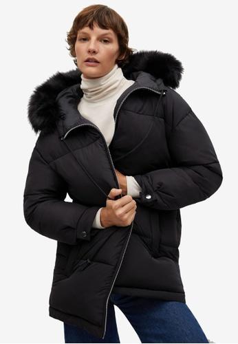 Mango black Hood Quilted Coat BC0ABAAB7CBC0FGS_1