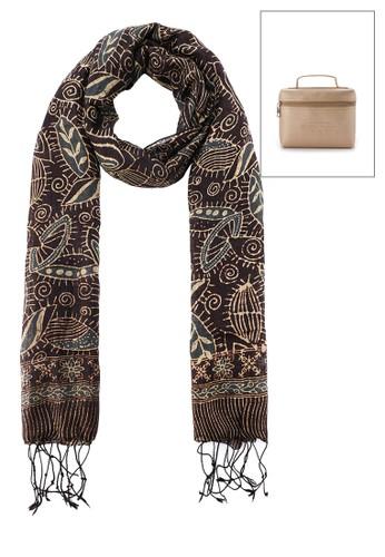 La Maison D'Evolette brown Soft Silk Kirana Scarf Leavy Milo 4DB11ACC439F1AGS_1