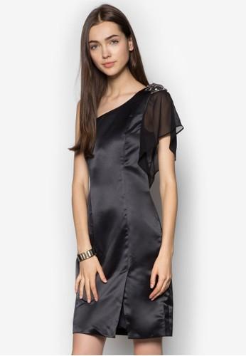Remac 荷葉邊單肩zalora 衣服尺寸洋裝, 服飾, 洋裝
