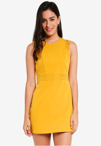 ZALORA yellow Fit And Flare Dress B6656AA06793EEGS_1