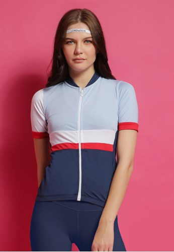 Corenation Active white and red and blue Jill Cycling Jersey Reflective - Blue B69B8AAE2E2390GS_1