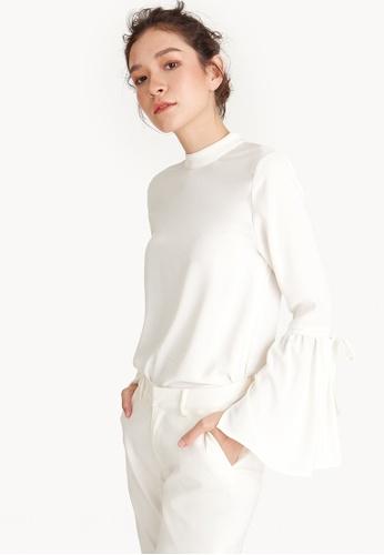 90e186b4fc9a Buy Pomelo Mock Neck Bell Sleeve Blouse Online on ZALORA Singapore
