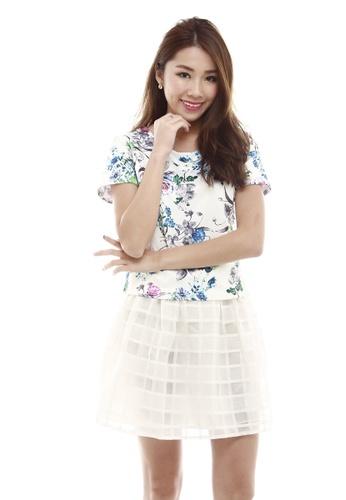 Sophialuv multi Deana Short Sleeve Shell Top  in Spring Floral Print BF96AAAC6AEB3DGS_1