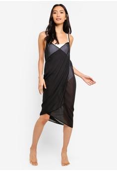 f767295cdc PINK N  PROPER black Mira Chiffon Beach Cover Up Dress 1A5CAUS392FCEFGS 1