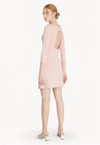 Pomelo pink Mini Open Back Long Sleeve Dress - Pink 447E8AAD1162AFGS_1