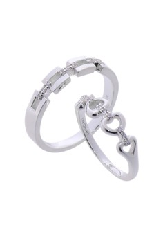 Endearing Silver Couple Ring with Artificial Diamonds lr0004