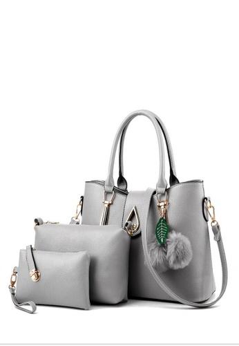 TCWK grey Set of 3pcs Ladies Handbag TC258AC0RFP3MY_1