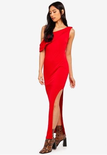Preen & Proper red Oblique Shoulder Bodycon Maxi Dress 1D512AAFE03A27GS_1