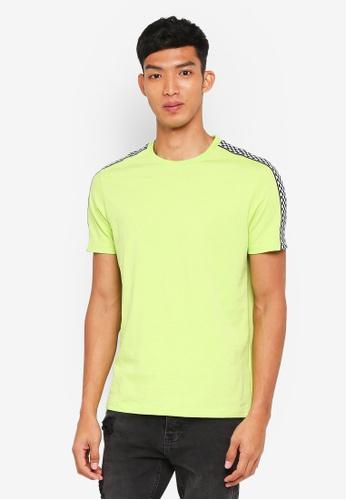 Topman 綠色 格紋滾邊T恤 3E015AA3BDA976GS_1