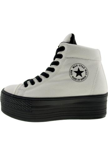 Maxstar 白色 新款韩国鞋C50-Taller時尚帆布布混合女白色 US Women Size MA345SH87GXOTW_1