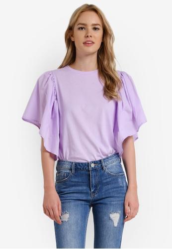 Mango purple Ruffled Cotton Top MA193AA0RBVKMY_1