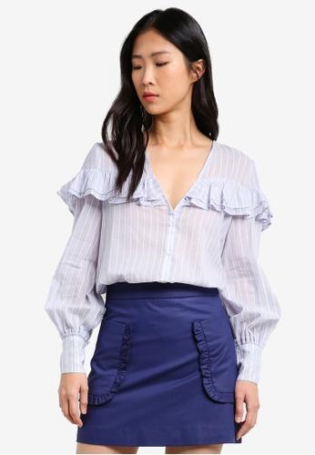 Mango blue Ruffled Stripe-Patterned Blouse MA193AA0RXTAMY_1