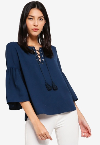 ZALORA navy Flare Sleeves Lace Up Top 43D97AABEA78D4GS_1
