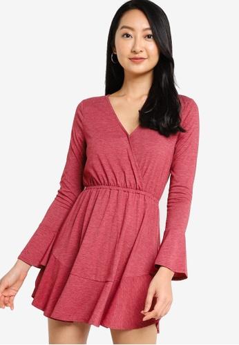 ZALORA BASICS red Fit & Flare Wrap Dress D6E89AAA100B18GS_1