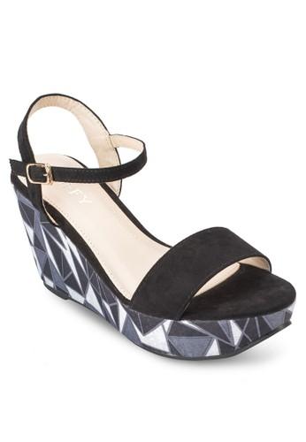 印花厚底楔型跟涼鞋、 女鞋、 鞋Spiffy印花厚底楔型跟涼鞋最新折價