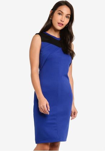 ZALORA 黑色 and 藍色 撞色Overlap 無袖洋裝 ABE28AA7528E78GS_1