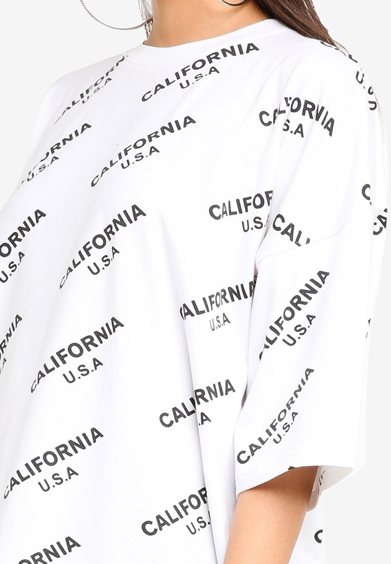 White Oversized MISSGUIDED California MISSGUIDED Tshirt Oversized White California Tshirt 7qdxgSS