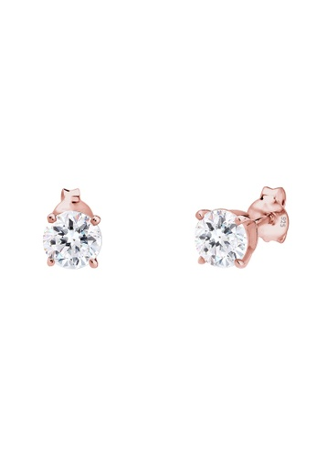 Elli Germany white 925 Sterling Silver Rosegold-Plated Swarovski® Crystal Earrings EL474AC84GODMY_1