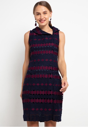 CHANIRA LA PAREZZA purple and navy Chanira La Parezza Sandra Jacquard Dress 366B6AA5B7CB1CGS_1
