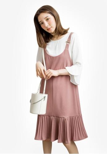 Tokichoi pink Pleated Hem Slip Dress 2DD4EAA14159AEGS_1