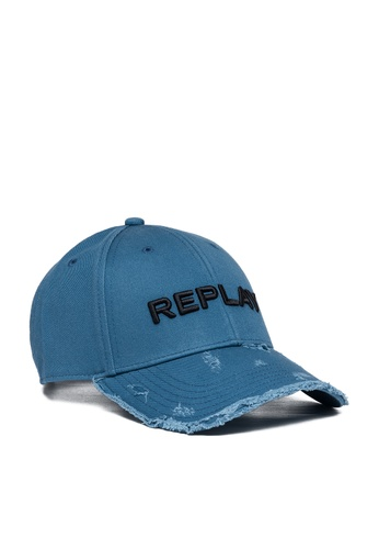 REPLAY blue REPLAY CAP WITH BILL WITH USED EFFECT 279B4AC43790A4GS_1