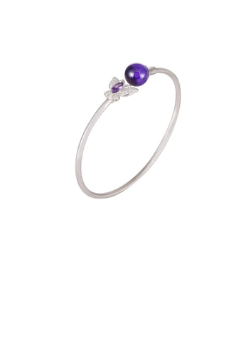 Glamorousky purple 925 Sterling Silver Fashion Elegant Butterfly Purple Freshwater Pearl Bangle 23901AC941DF68GS_1
