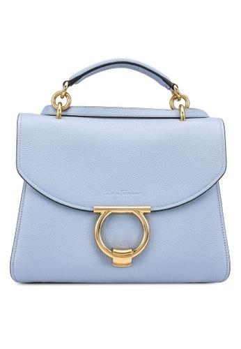 Ferragamo blue Margot Gancini Top Handle Bag (zt) 9FE17AC77AC7DFGS_1