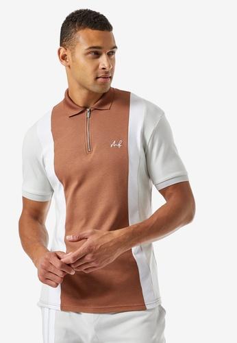 Burton Menswear London brown MB Collection Cut & Sew Polo 1D403AA7A8B026GS_1