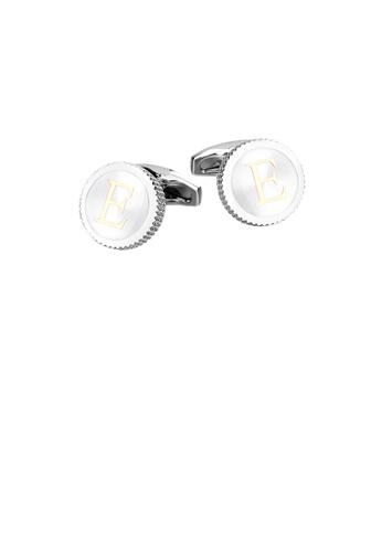 Glamorousky silver Fashion Simple English Alphabet E Round Cufflinks 40B34AC359C5AFGS_1