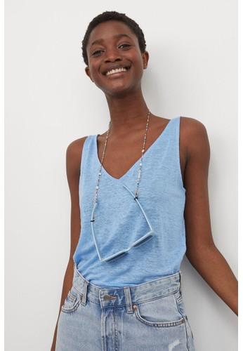 H&M blue Linen vest top 4E4CEAA4D4D55CGS_1