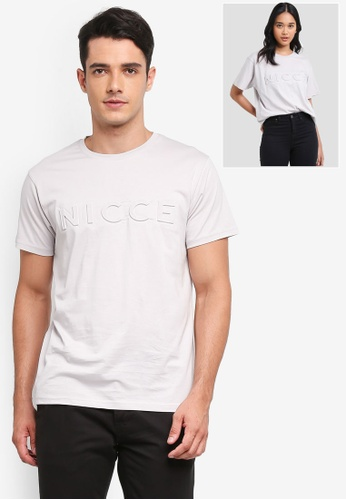 Nicce London grey Embossed T-Shirt 31FD8AA2485581GS_1