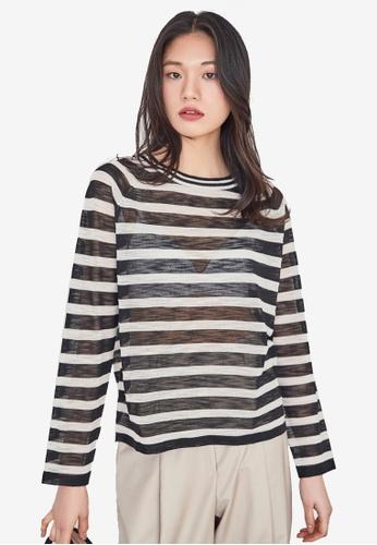NAIN black Striped Top 6414BAAD2BBEDCGS_1
