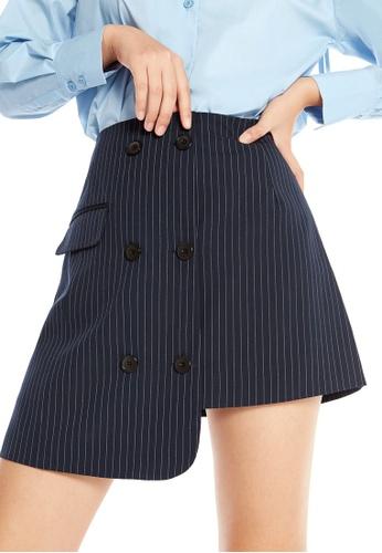 Pomelo navy Kwan Button Striped Mini Skirt D2EE9AAA33D3CFGS_1
