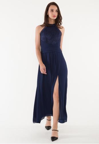BEBEBEIGE blue BebeBeige A-Line High Neck Chiffon Floor-Length Evening Dinner Dress With Walking-Slit 344ECAA8B89742GS_1