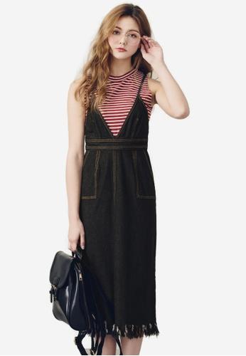 Sesura black Tassel Play Denim Dress 5B113AAB3BC2DBGS_1