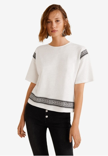 Mango white Embroidered Linen-Blend T-Shirt 5F6F9AAD9176B5GS_1