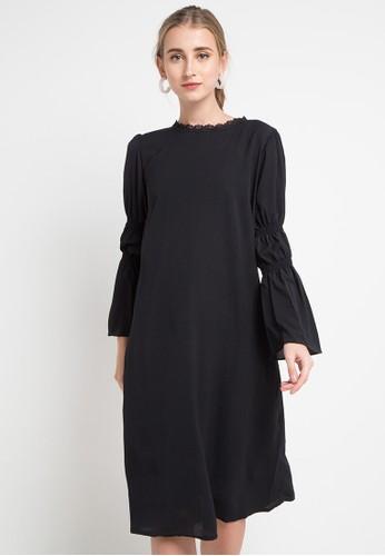 SIMPLICITY black Long Sleeve Midi Dress 9313FAA111AAB8GS_1