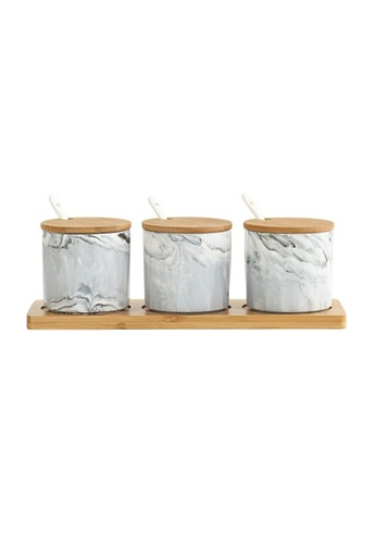 DILAS HOME Marble Effect Condiment Pot Set (Marbled Grey) 9D02EHL9BC5FF5GS_1