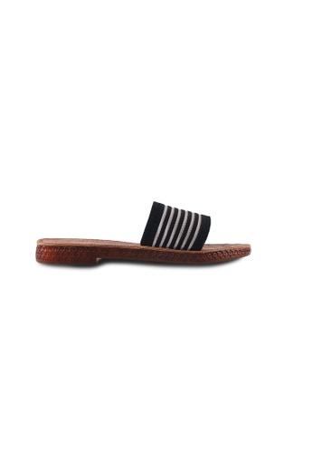 Alfio Raldo black Alfio Raldo Striped Flat Sandal 59B87SH4B8A544GS_1