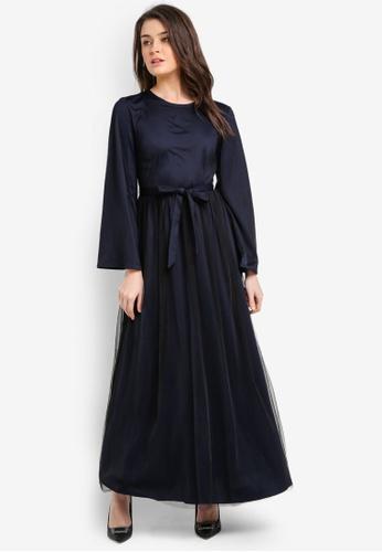 Zalia navy Tulle Dress AC81FAAF257538GS_1