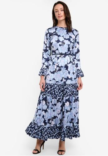 Zalia blue Floral Print Block Tiered Dress 3CDAFAA125A6B5GS_1