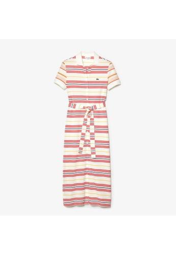 Lacoste Women's Striped Cotton Buttoned Polo Dress 1C70CAABF4CF29GS_1