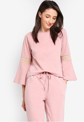 Zalia pink Flare Sleeves Top With Rib Details F0D72AA0D4A3F2GS_1
