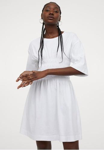 H&M white Smock Waist Dress AFDE2AABA634F2GS_1
