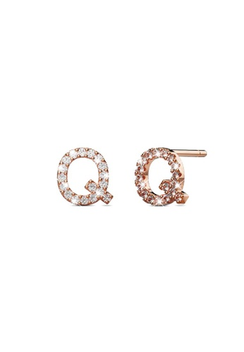 925 Signature silver 925 SIGNATURE Solid 925 Sterling Silver Glamour Alphabet Letter Earrings Rose Gold - Q FC949AC132B442GS_1