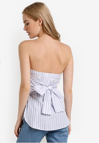 TOPSHOP blue Petite Knot Front Bandeau Top TO412AA69JWCMY_1