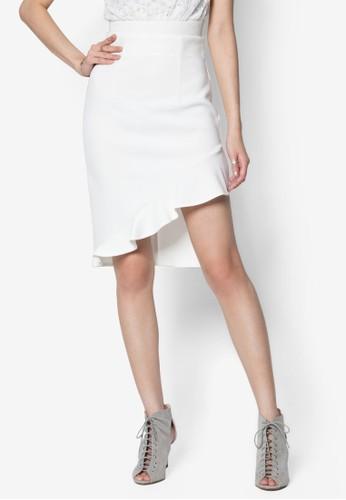 不對稱下zalora 台灣門市擺彈性短裙, 服飾, 服飾