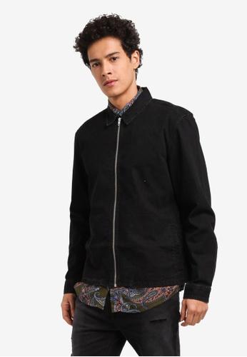 Topman 黑色 休閒拉鍊襯衫外套 E7F15AA2A34738GS_1